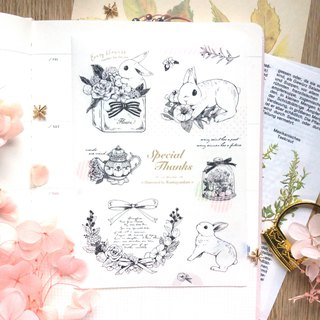 Rabbit Floral - Rolled and Paper Stickers