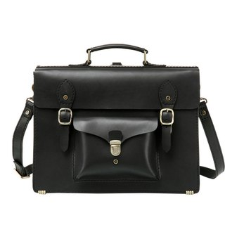 JIMMY RACING British wind leather portable diagonal back 3way briefcase - black 04166006