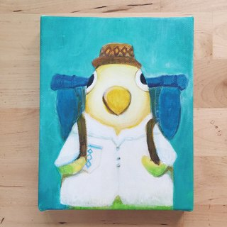 "Backpacking small frame of the original painting, ""Mr. Parrot"" of 