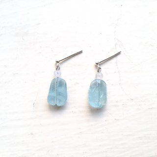 Aquamarine, Moonstone Earring