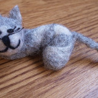 felted cat brooch, needle felted,animal pin