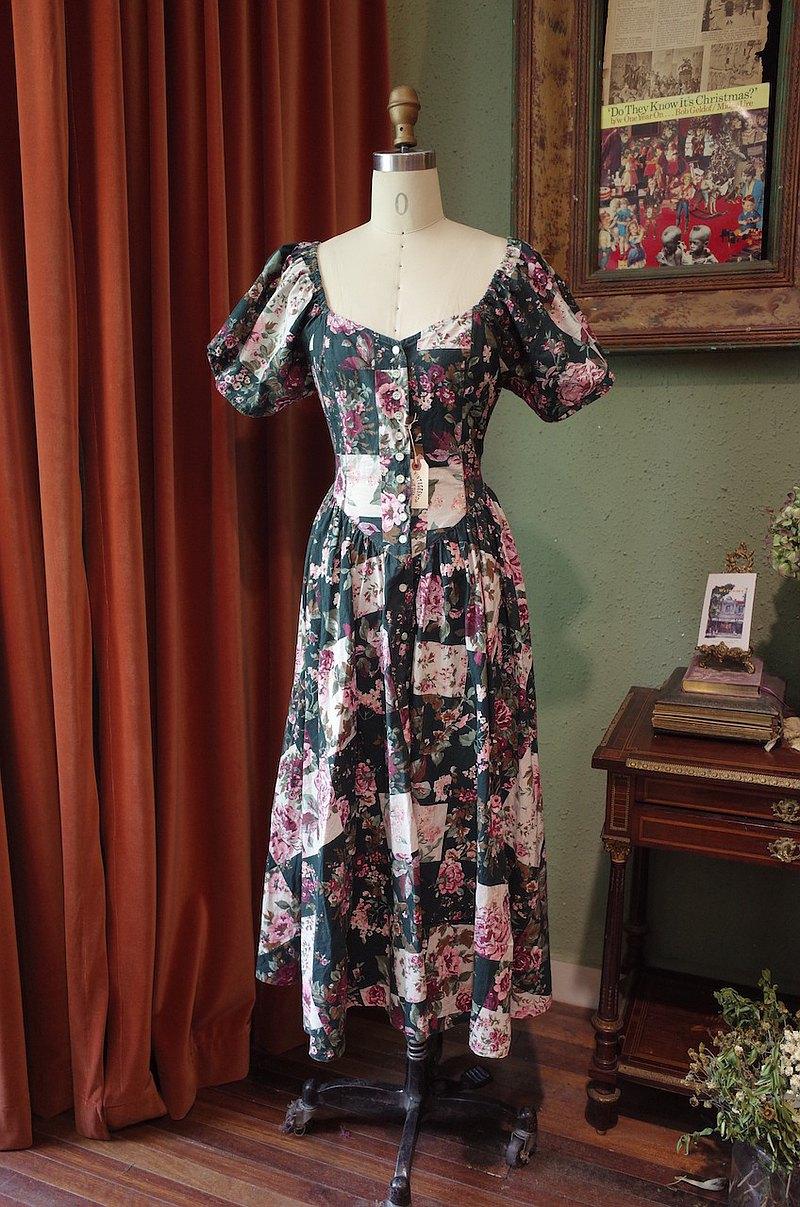 vintage dress大泡泡袖印花連衣裙古著洋裝