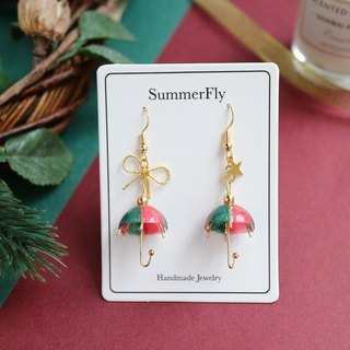 Christmas Limited Edition - Shiny Umbrella Dangle Earrings 18k Pack Gold Red Green Bow Stars New Year Blessing
