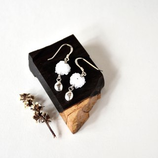 Handmade natural crystal flowers with drop shaped 925 silver drop earrings, natural stones