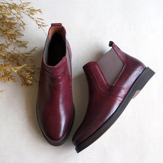 [Northern Country Forest] plain noodle Erxi short boots _ wine red