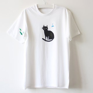 Quite Black Cat & Mountain Screen Print T shirt I Cat Lover