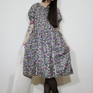 F2110 (Vintage) blue background with pink flowers bilateral waist straps cotton short-sleeved vintage dress (wedding / picnic / party)