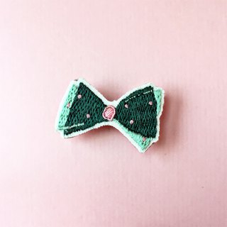Mini hand embroidered brooch / pin green bow tie
