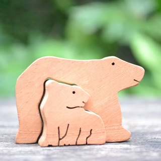 Polar Bear mother with baby out for food ★ handmade wood