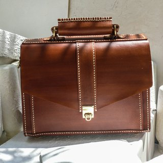 Do not hit the bag light brown vegetable tanned leather full leather small briefcase