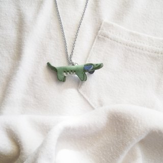 Hancrafted Leather Jewelry. Healing Doggie Necklace collection ( Sweet Mint )