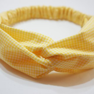 Yellow gingham / handmade elastic hair band