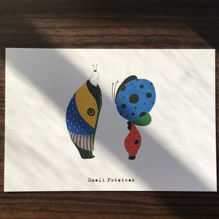 Small Potatoes Postcards / chrysalis / butterfly / hyacinth with bird of paradise