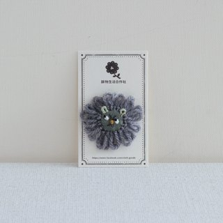 Embroidery Buckle - Gray Hairy Lion