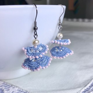 Dancing dress earrings (blue) / tatted lace / gift / princess dress / ear clip