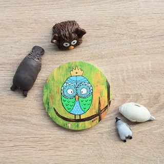 Ceramic water coaster ∣ Owl's dream forest