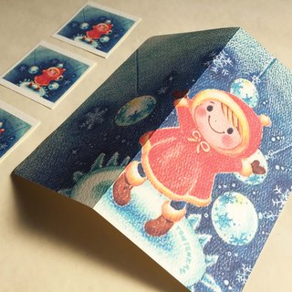 Winter twinkling world folding card no.137