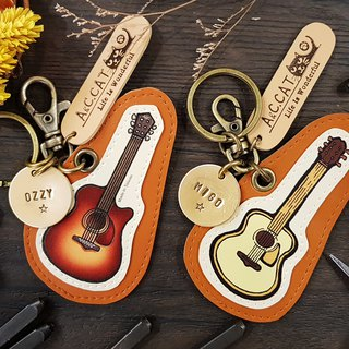 [Qiao hand cat x city cat] illustration leather - custom knocking key ring (hanging) orchestra guitar