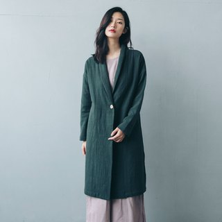 Single buckle long coat - green