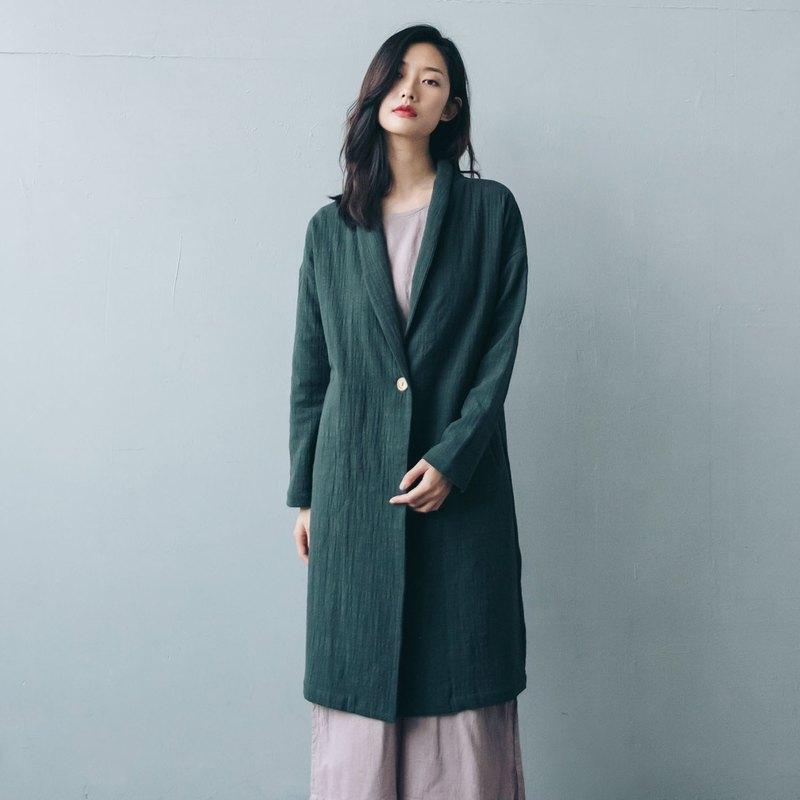 單釦長版大衣 - 綠