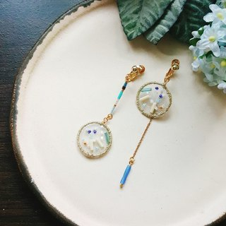 After the Paradise KoraKuen - 【Embroidery Embroidery Series】 01 Drop / Double Blue / Embroidered Earrings