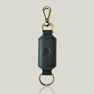 Champagne champagne - leather key ring - dark gray ‧ wax leather
