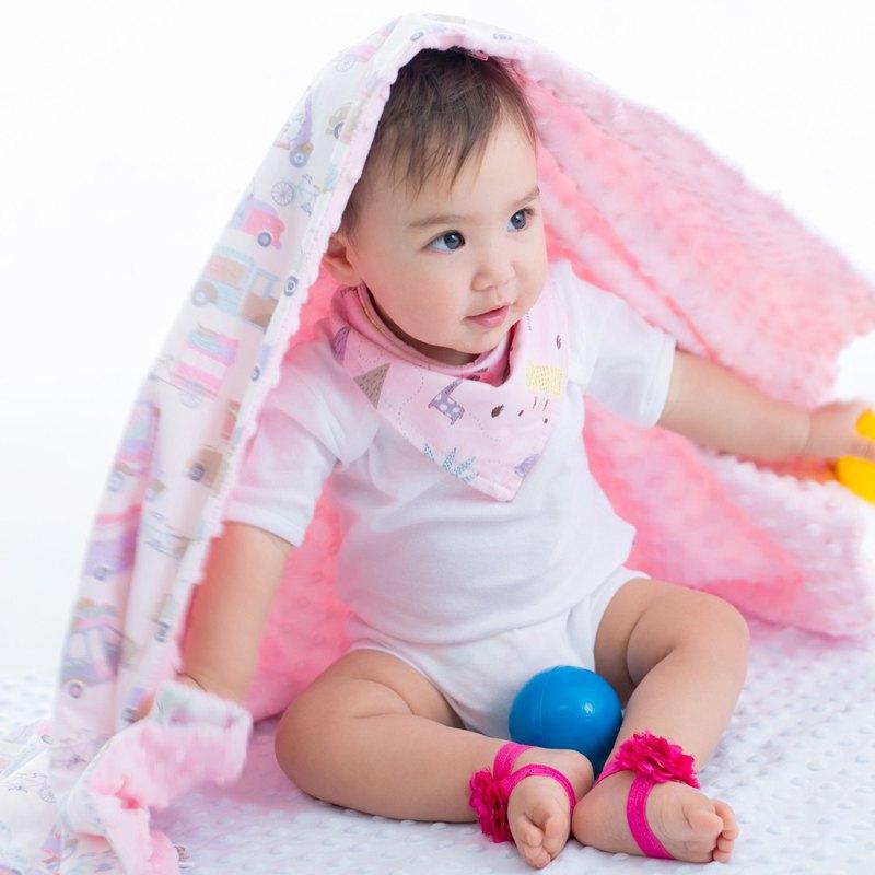 Minky多功能 點點顆粒 攜帶毯嬰兒毯冷氣毯被 粉色-汽車