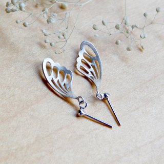 Silver Butterfly Series - Silver Butterfly Dancing - 925 sterling silver hand-made earrings Free clip-on silver gift packaging
