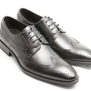 Hand-painted calfskin leather with wood-trimmed Derby shoes - Black - Free Shipping - D1A62-99