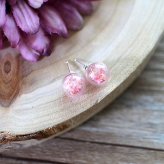 Pink flower flower glass ball earring ear clip