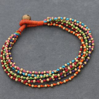 Colorful Rainbow Woven Anklets, Brass Braided Multi Strand Hippy Ankle Bracelets