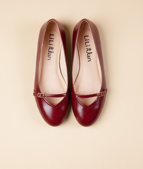 [Elegance wash] all leather simple tie Hepburn flat shoes _ vintage wine red (more than 25,25.5)