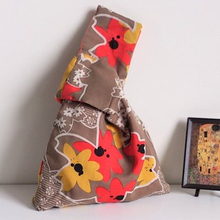 Knot Bag (Double-sided: Autumn-feel floral print x Orange)