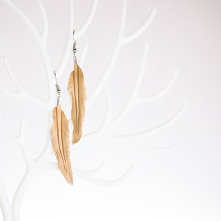 Leather Crave Earring Feather design - Natural
