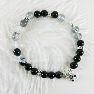Black and white light natural stone beaded silver bracelet │ black gray ♡ unicorn Tibetan silver gift fashion accessories entry single product