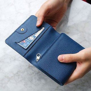 PLEPIC Leather Tri-Fold Short Wallet - Midnight Blue, PPC93679