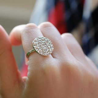 Textured crystal diamond thin disc ring 925 pure silver can be customized ring Wai