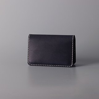 Double open leather business card holder / card holder / vegetable tanned leather dark brown