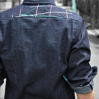 Beautiful casual embroidered denim shirt