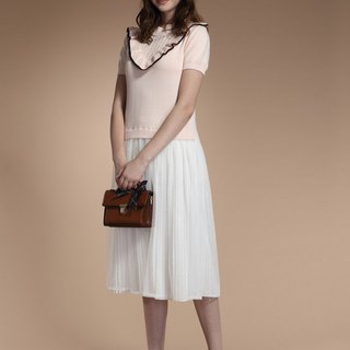 Sweet mesh stitching knit dress