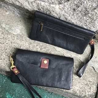 Sienna leather multi-use long clip bag design