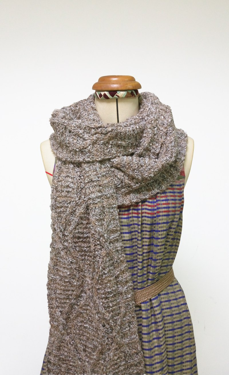 Lan wool scarf (gray rice)