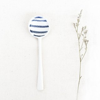 Handmade Ceramic Short Spoon - Stripes