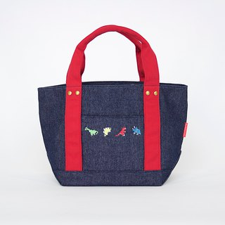 Dinosaur Embroidery Washed Denim Tote / Small