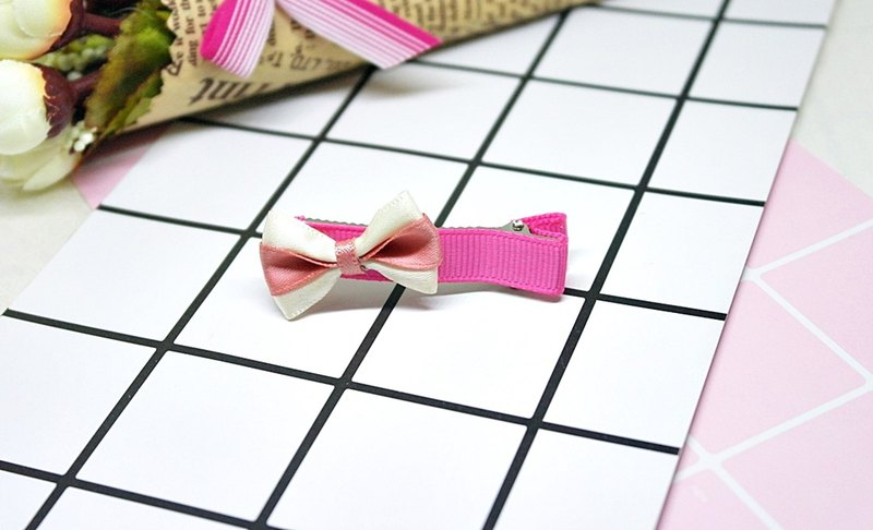 Girls Hair Accessories => Pink Bow - Hair Clip Series - (Mail Free) #女孩儿头饰