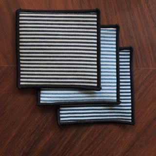 Tannin denim coaster - straight stripe tricolor combination