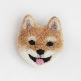 dog-face felted brooch (Japanese dog)