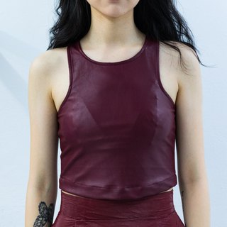 Jujube leather short vest