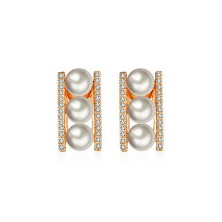 Pearl Daimond Earring in Line Order