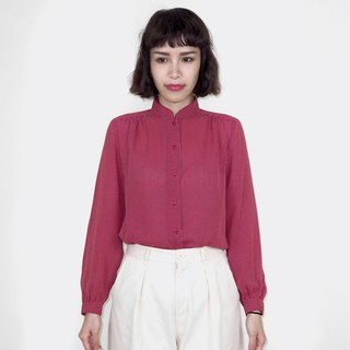 Red vintage Henry collar chiffon vintage long sleeve shirt BM4040